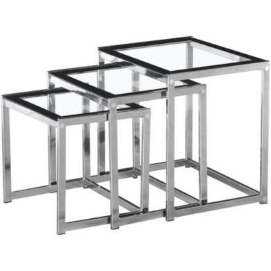 GRADE A2 - Light cosmetic damage - Seconique Henley Nest of Tables in Glass and Black