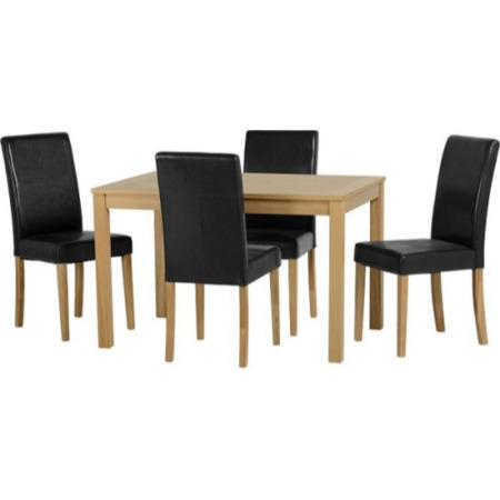 Astounding Seconique Oakmere Dining Set Solid Wood Dining Table 4 Black Vinyl Dining Chairs Gmtry Best Dining Table And Chair Ideas Images Gmtryco