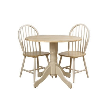 Origin Red Lingfield Drop Leaf Round Dining Set in Natural and Ivory