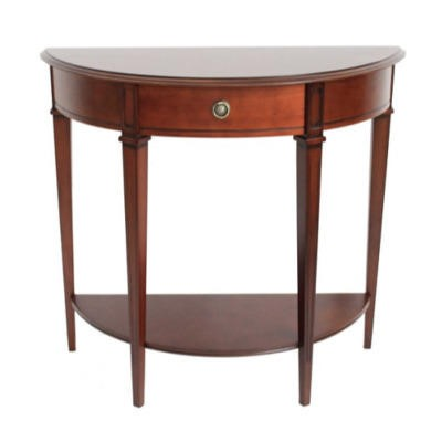 Origin Red Winchester Half Moon Side Table in Mahogany