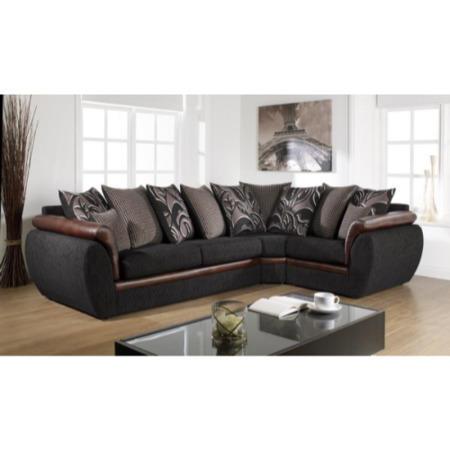 Lebus Leona Scatter Back Corner Sofa In Casablanca Black