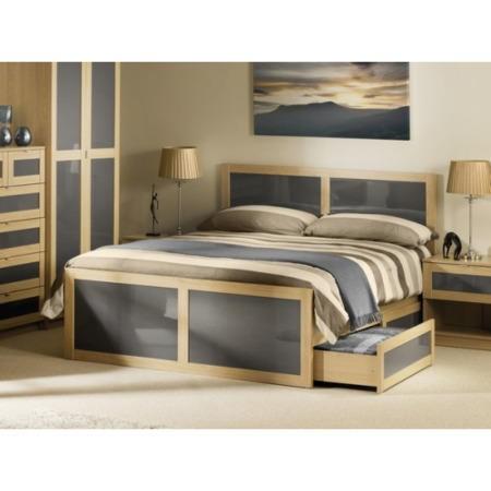 Julian Bowen Strada Bed Frame In Light Oak And Grey