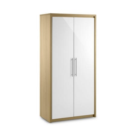 Julian Bowen Stockholm 2 Door Wardrobe in Light Oak and White