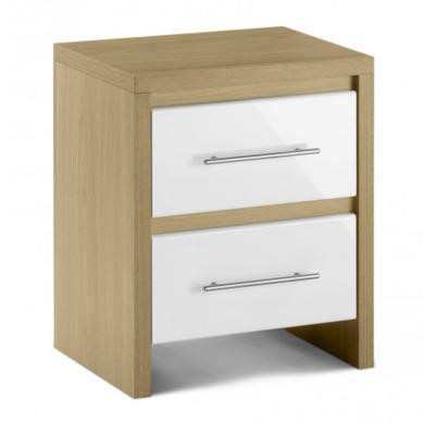 Julian Bowen Stockholm 2 Drawer Bedside Table in Light Oak and White