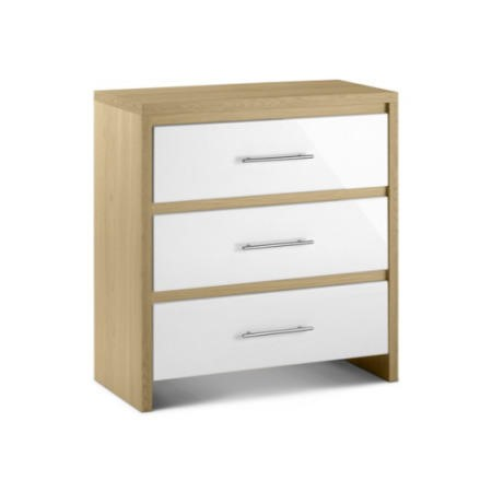 Julian Bowen Stockholm 3 Drawer Chest in Light Oak and White
