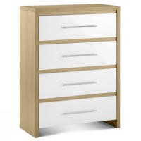 Julian Bowen Stockholm 4 Drawer Chest in Oak and White High Gloss