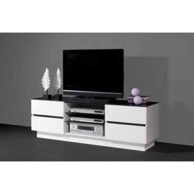 Germania Giro Tv Unit In White High Gloss And Black Glass