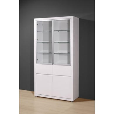 Germania Fino Double Display Cabinet In White High Gloss Furniture123