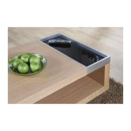 Cube Coffee Table In Oak And Black Glass Furniture123