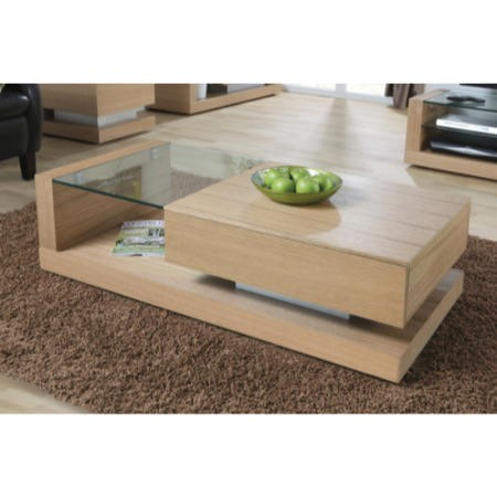 Cube Coffee Table In Oak And Clear Glass Furniture123