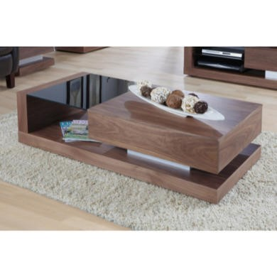 Jual Furnishings Cube Coffee Table In Walnut And Black Glass With Drawer Furniture123