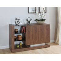 Jual Furnishings Cube Sideboard in Walnut and Black Glass