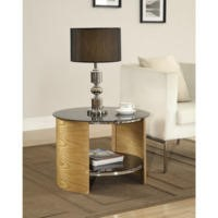 Jual Furnishings Curve Round Lamp Table in Oak and Black Glass