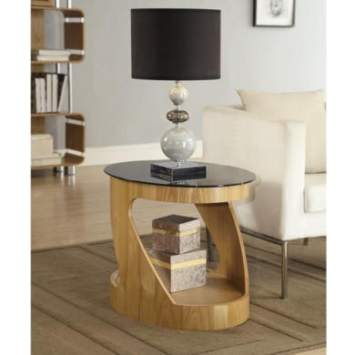 Jual Furnishings Curve Oval Lamp Table in Oak and Black Glass