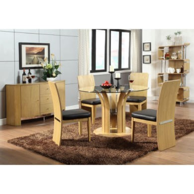 Jual Furnishings Curve Dining Set in Oak with Sideboard