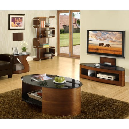 Jual Furnishings Curve Coffee Table in Walnut and Black Glass