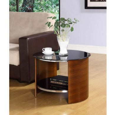 Jual Furnishings Curve Round Lamp Table in Walnut and Black Glass
