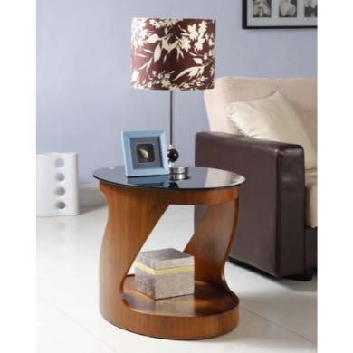 Jual Furnishings Curve Oval Lamp Table in Walnut and Black Glass