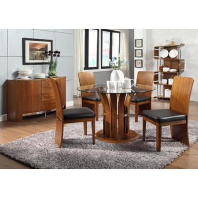 Jual Furnishings Curve Dining Set in Walnut with Sideboard