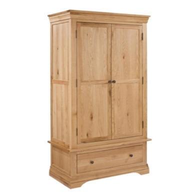 Lpd worthing white oak 2 door wardrobe with drawer for Furniture 123 wardrobes