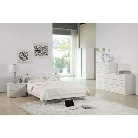 LPD Novello White High Gloss Bedside Cabinet