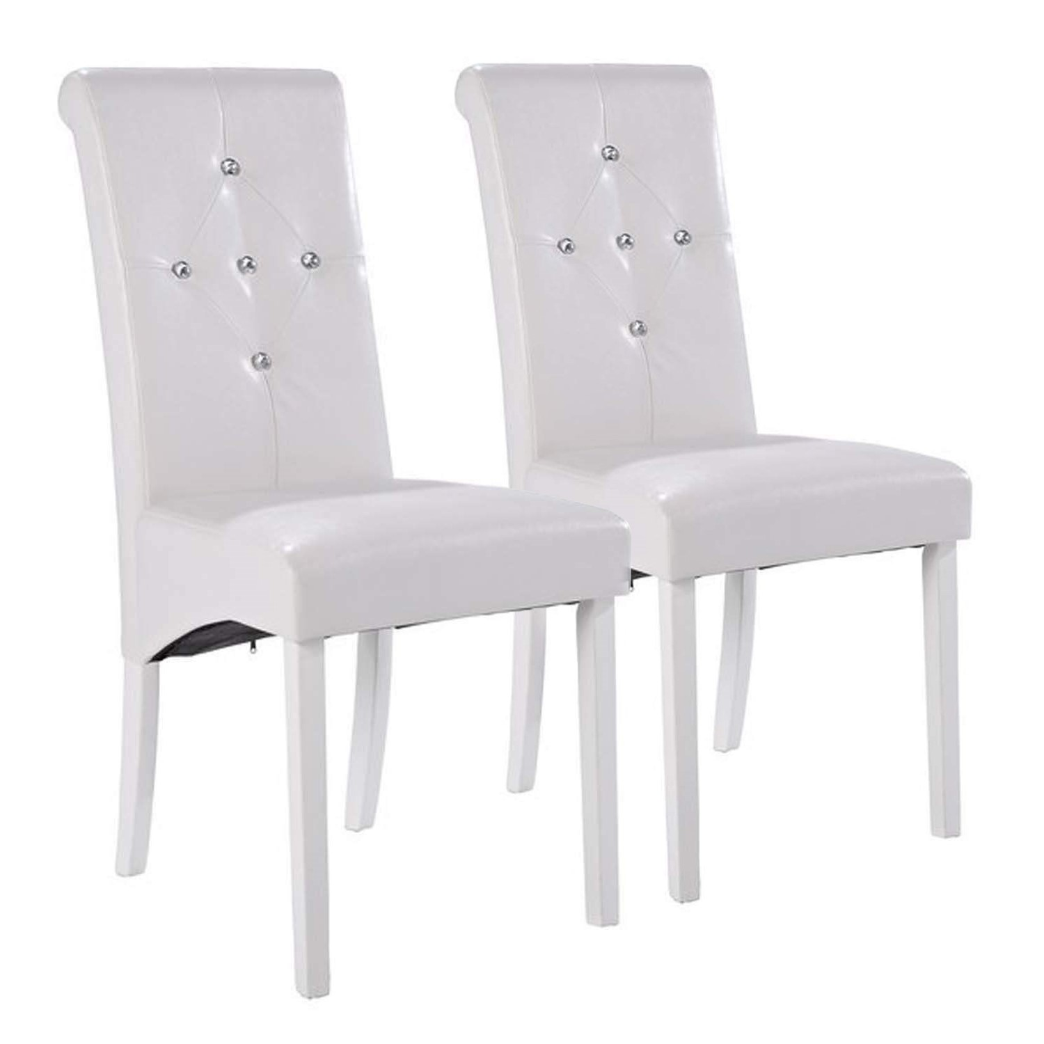 LPD Monroe Pair Of Diamante Dining Chairs In White