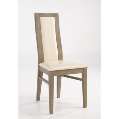 LPD Provence Durian Wood and Cream Leather Dining Chair Pair