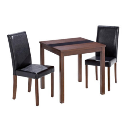 Lpd ashleigh small walnut dining set with black chairs for Ashleigh dining set