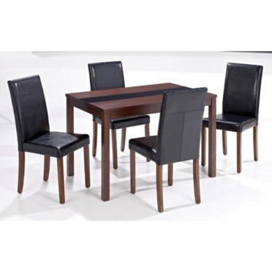 Lpd ashleigh medium walnut dining set with black chairs for Ashleigh dining set