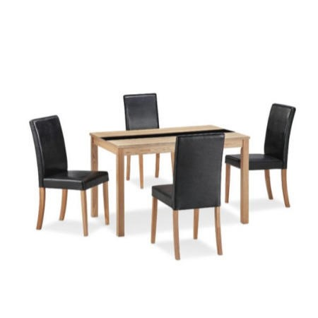 Lpd ashleigh medium ash veneer dining set with black for Ashleigh dining set