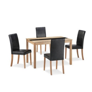 LPD Ashleigh Medium Ash Veneer Dining Set with Black Chairs