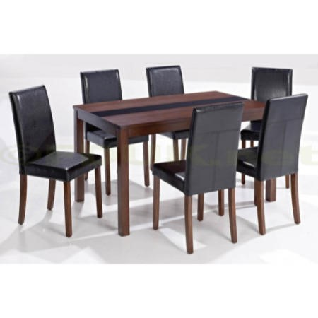 Lpd Ashford Large Walnut Veneer Dining Set With 6 Black