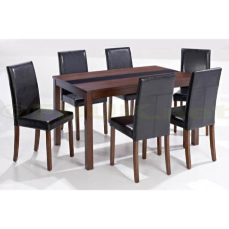 28ff32e8f2 LPD Ashford Large Walnut Veneer Dining Set with 6 Black Chairs FOL078019