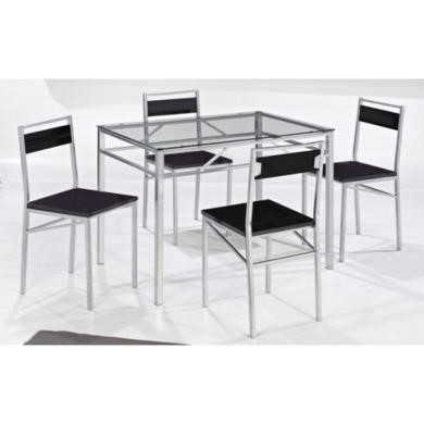 LPD Tokyo Silver Dining Set with 4 Chairs