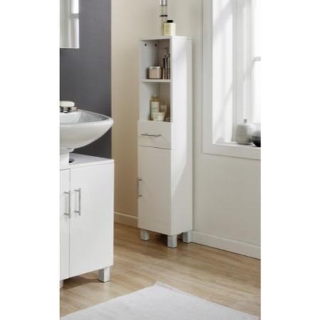 Mountrose Arctic High Gloss 1 Door 1 Drawer Tall Bathroom