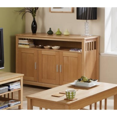 Mountrose Ashford Solid Wood 3 Door Sideboard with Ash Veneer