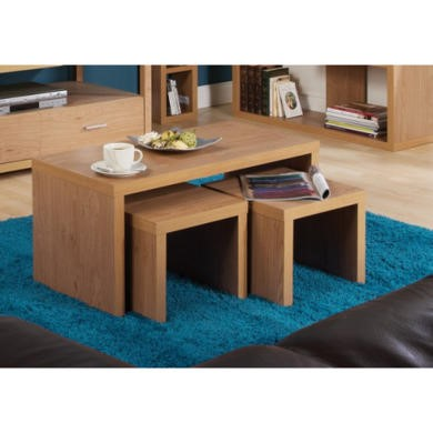 Mountrose Chicago Long John Nest Of Coffee Tables In Oak Furniture123