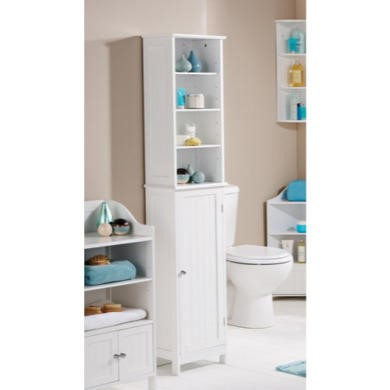 Mountrose colonial tall bathroom cabinet in white for Tall bathroom wall cabinet