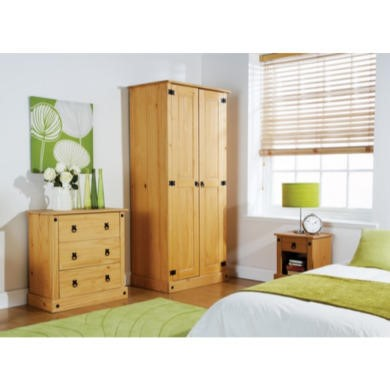 Mountrose Maya Solid Pine Mexican 3 Piece Bedroom Set
