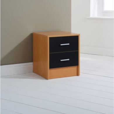 Mountrose Oslo 2 Drawer Bedside Cabinet in Beech and Black