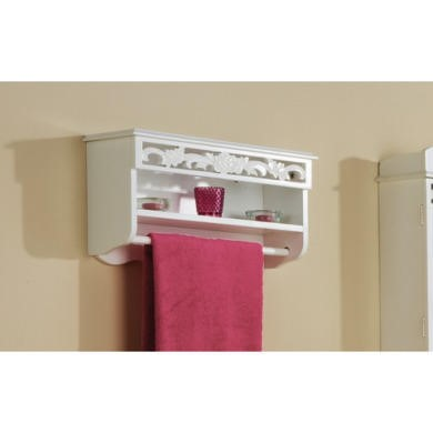 FOL078272 Mountrose Rose Towel Rail with Shelf in White