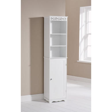 Mountrose scroll tall bathroom cabinet in white furniture123 Tall bathroom wall cabinet