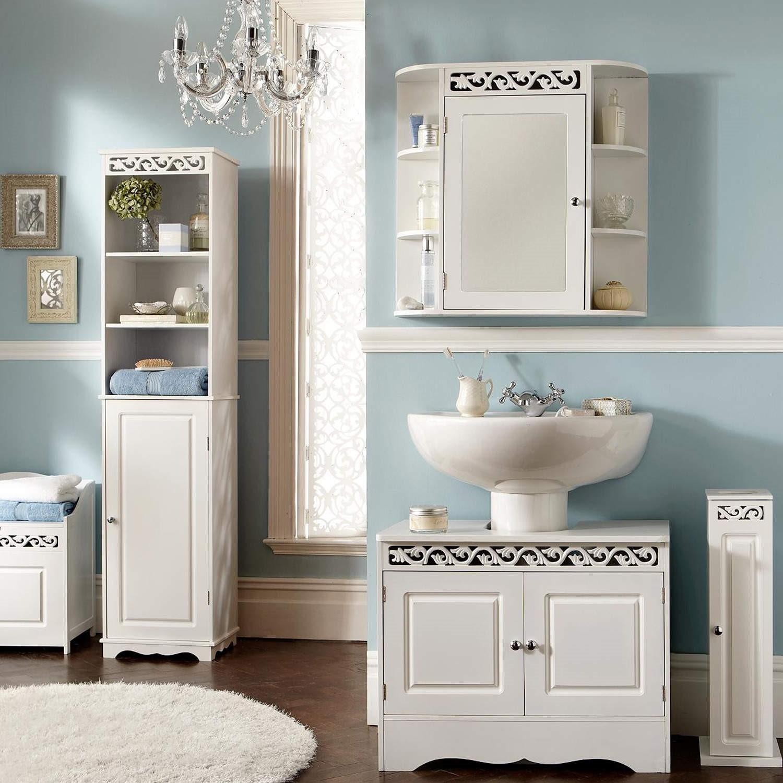Mountrose Scroll Tall Bathroom Cabinet in White | Furniture123