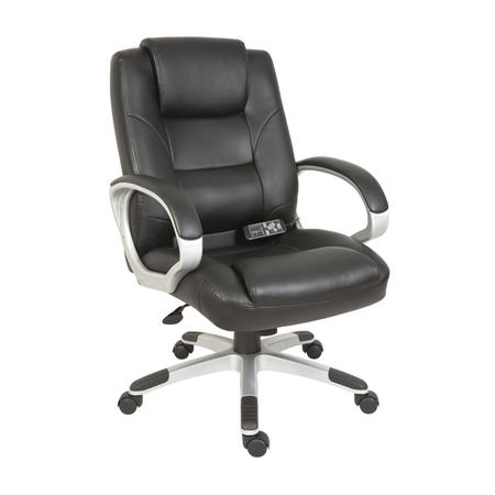 Teknik Office Lumbar Executive Massage Leather Chair in Black