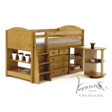 Verona Design Verona Mid-Sleeper Bedroom Set with Pull Out Desk in Antique Pine
