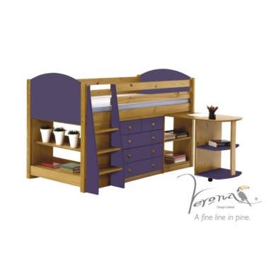 Verona Design Verona Mid-Sleeper Bedroom Set with Pull Out Desk in Antique Pine and Lilac