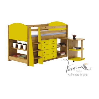 Verona Design Verona Mid-Sleeper Bedroom Set with Pull Out Desk in Antique Pine and Lime