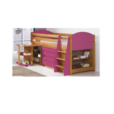 Verona Design Verona Mid-Sleeper Bedroom Set with Pull Out Desk in Antique Pine and Fuchsia