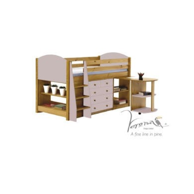 Verona Design Verona Mid-Sleeper Bedroom Set with Pull Out Desk in Antique Pine and Pink