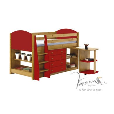 Verona Design Verona Mid-Sleeper Bedroom Set with Pull Out Desk in Antique Pine and Red